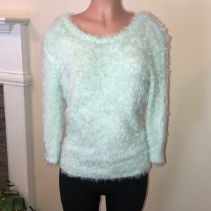 NWT Juniors Mint Green Eyelash Sweater Size XL